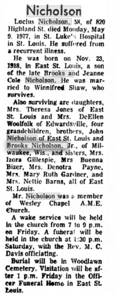 Lucius Nicholson- Edwardsville Intelligencer 5-11-1977