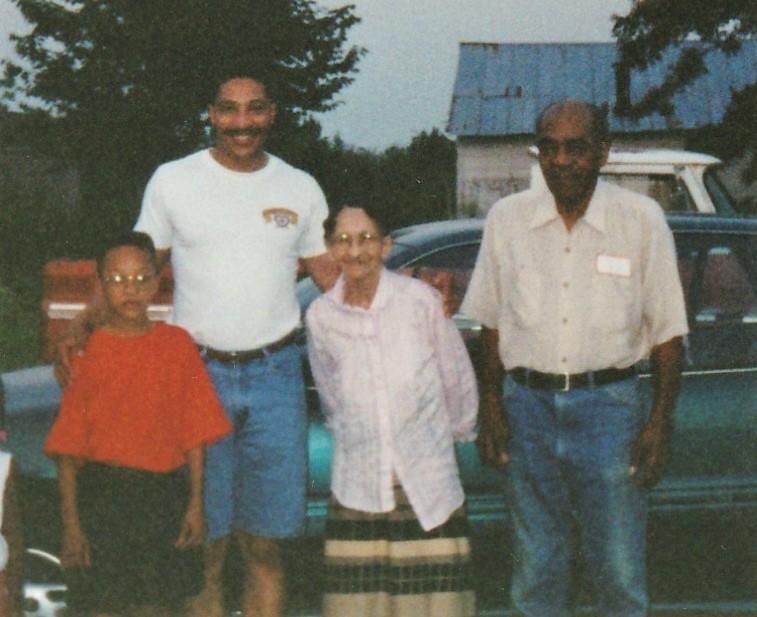 Aunt Bertha, Elma Colman, John Jr and son Marcus Johnson