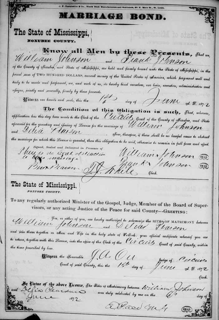 Shared by Ruth A. J. marriage of William and Delia