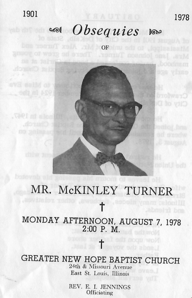 Shared by LeMar T.: McKinley Turner Obit 1