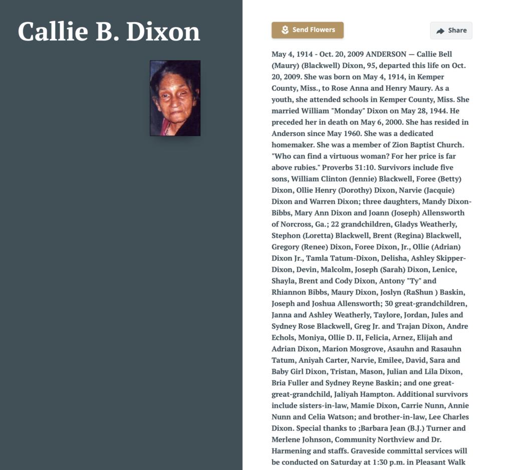 Callie B Dixon