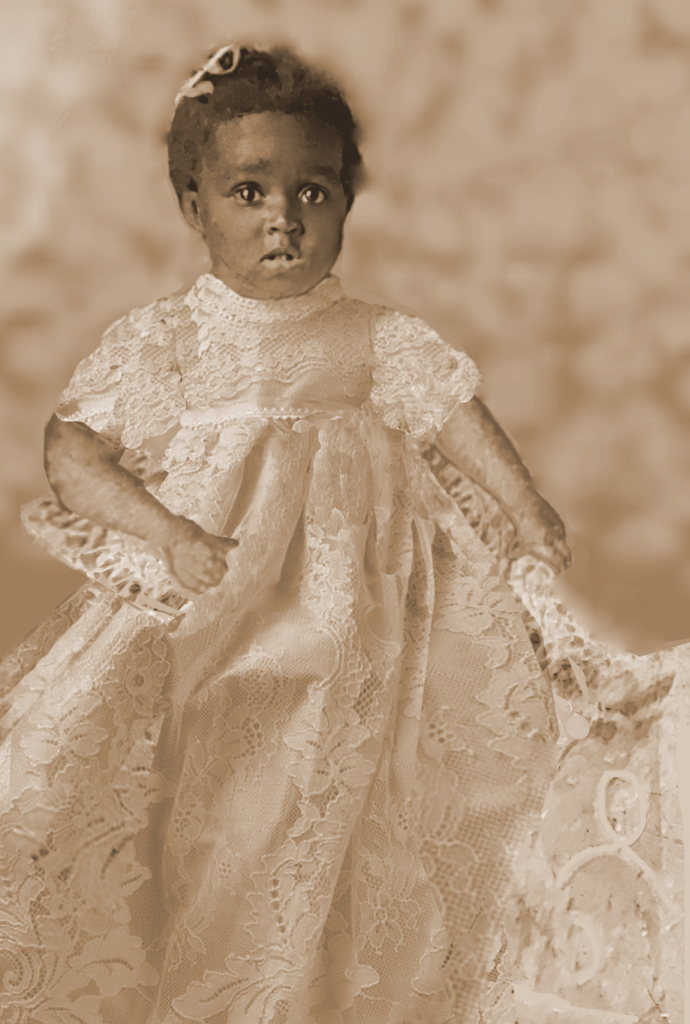 4. Unknown baby. I restored this photo but I need to add the collar which is reminiscent of the 1890-1920 timeline.