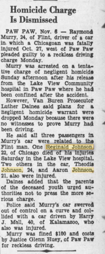 11-6-1956 The News-Palladium Death of Reginald