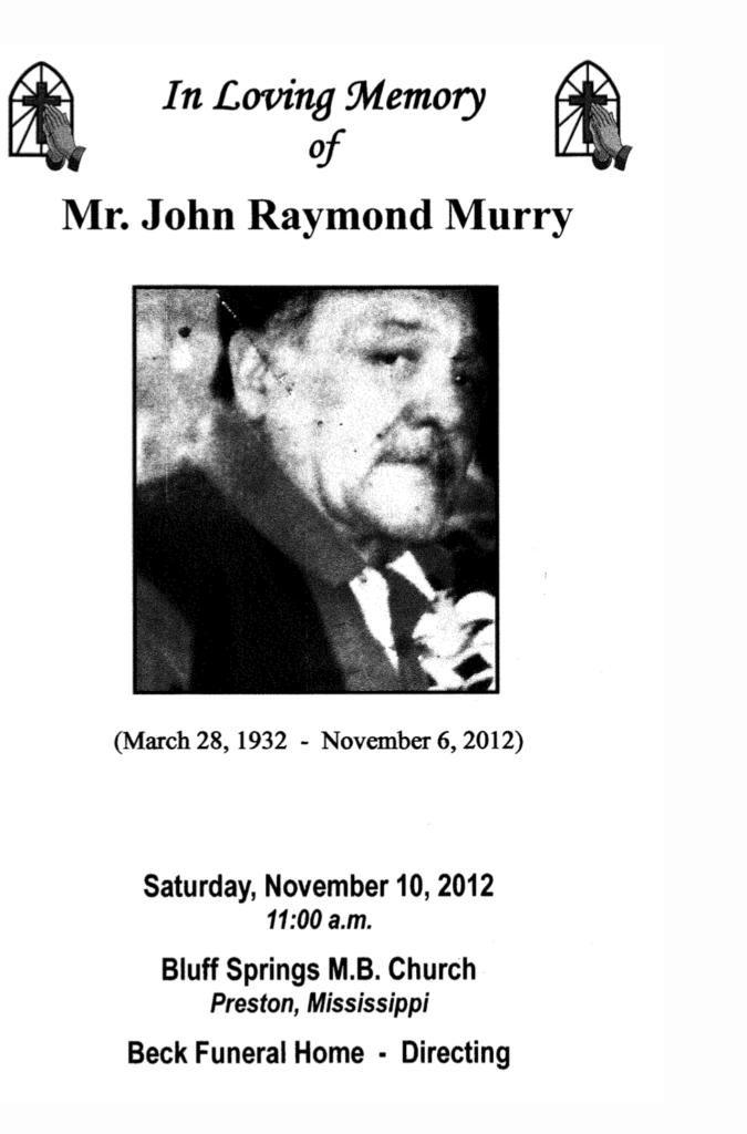 John Raymond Murry obit