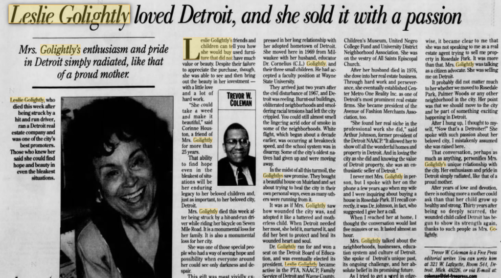 Leslie Golightly and Detroit