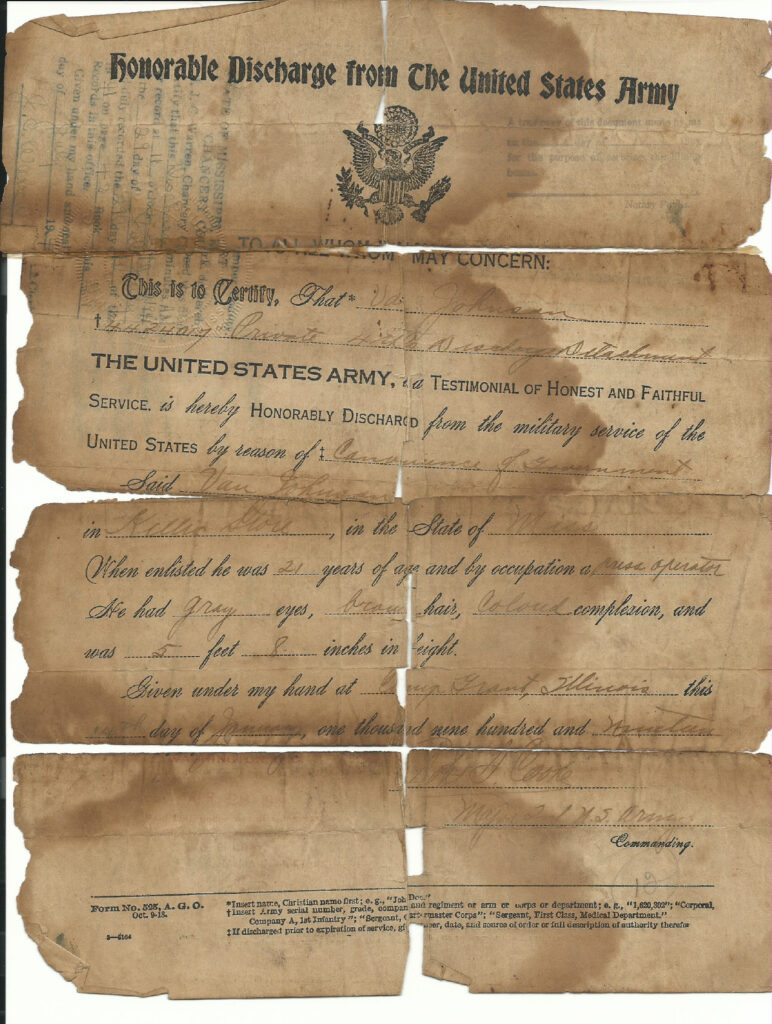 Van Johnson honorable discharge army-shared by Katie