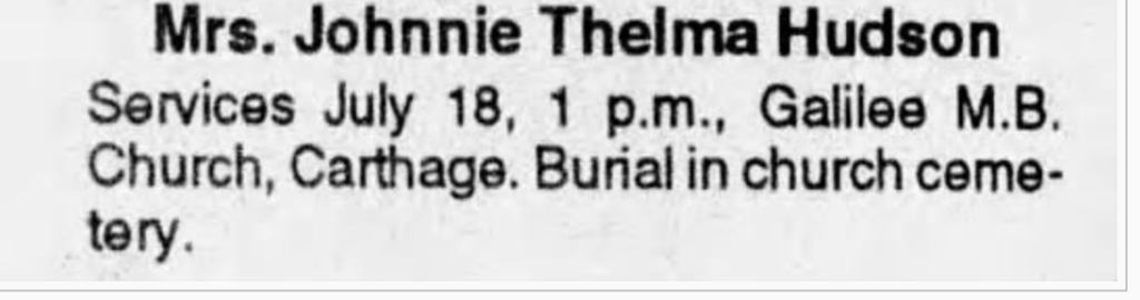Johnnie Thelma Hudson Star Herald July 25, 1996