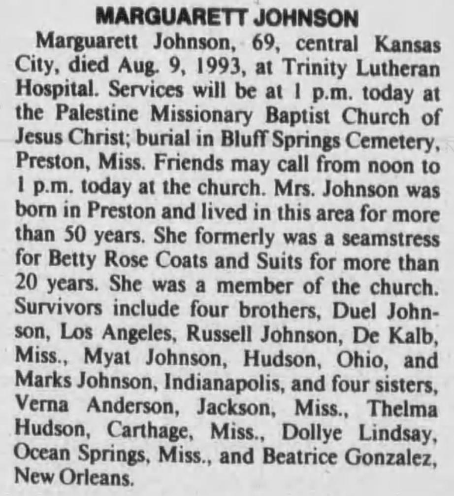 Marguarett Johnson 8-11-1993 Kansas City Star