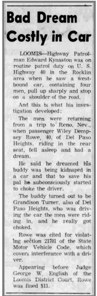 Wiley Dempsey Rowe 8-9-1961 Press Tribune , Roseville , CA