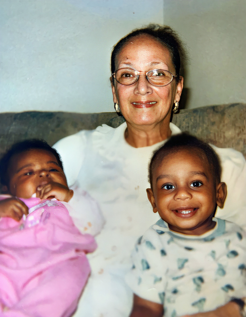 Ethel Ruth and grandchildren -shared by Timothy J. Restored by emp